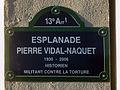 Paris 13e - Esplanade Pierre-Vidal-Naquet - plaque, edited.jpg