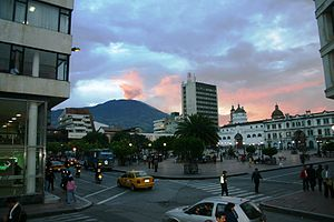 Pasto, Colombia -  Panoramic, Galeras Volcano at sunset from the main square.