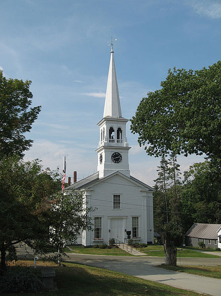 A classic New England Congregational church in Peacham, Vermont Peacham, Vermont Church.jpg