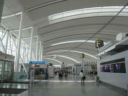 Interior of Toronto Pearson International Airport's Terminal 1. Toronto Pearson serves as the international airport for the Greater Toronto Area. Pearson International.JPG