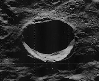 Pease (crater) - Oblique Lunar Orbiter 5 image, facing west