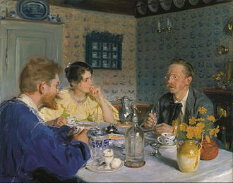 "P. S. Krøyer's paintings of Marie - A luncheon. The artist, his wife and the writer Otto Benzon, 1893 ""Luncheon"" is a mistranslation of the Danish as the breakfast setting shows."