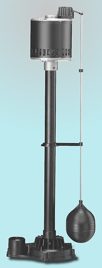 Float switch - A sump pump with a float switch.