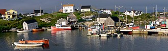 Peggy's Cove, Nova Scotia - Fishing boats in the harbour at Peggy's Cove