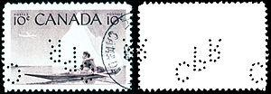 Perfin - A 1955 Canadian stamp with a CPR (Canadian Pacific Railway) perfin.