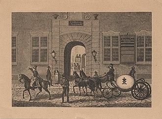 Møinichen Mansion - P. C. Klæstrup: Kugleposten kører ind på postgården i Købmagergade, Tidsskrift for Postvæsen, issue no. 2, 1880