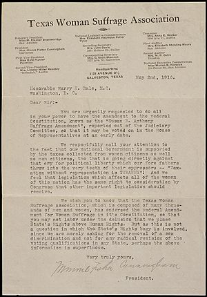 Texas Equal Suffrage Association - Image: Petition from Minnie Fisher Cunningham of the Texas Woman Suffrage Association