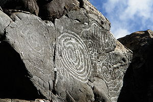 Canary Islands in pre-colonial times - A petroglyph in the Canary Islands