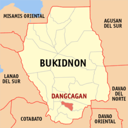 Map of Bukidnon with Dangcagan highlighted