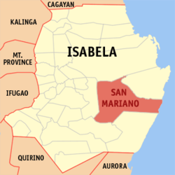 Map of Isabela showing the location of San Mariano.