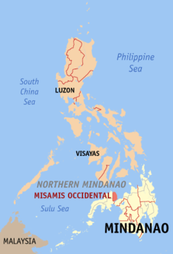 Map of the Philippines with Misamis Occidental highlighted
