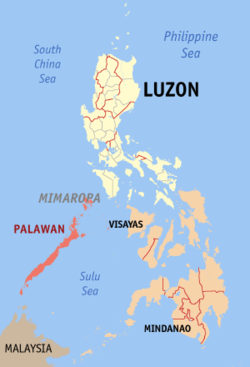 Map of the Philippines with Palawan highlighted