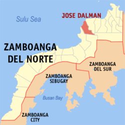 Map of Zamboanga del Norte with Jose Dalman highlighted