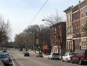 Girard Avenue - Girard Avenue from 30th Street, looking west into Fairmount Park.