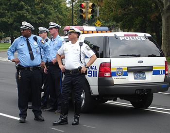 Philadelphia police traffic officers with thei...