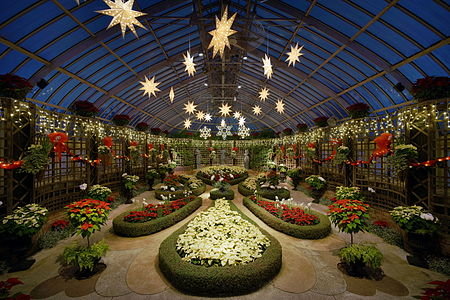 The Parterre de Broderie, a room in the Phipps Conservatory in Pittsburgh, decorated for the winter 2015 light show.