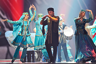 Azerbaijani folk music - Azerbaijani folk musician playing balaban during Eurovision Song Contest 2012.