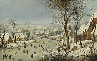 Winter Landscape with Ice skaters and Bird trap - Image: Pieter Brueghel II The Bird Trap 733N09102 78DCP