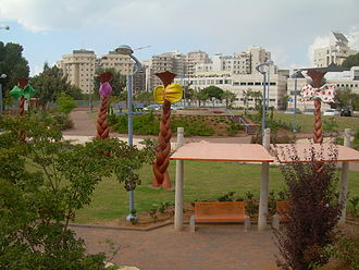 Holon - Park in Holon with a residential district in the background
