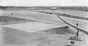 Pinehurst Resort - Pinehurst in 1901. The No. 1 course had square sand greens at that time. The No. 2 course was converted from oiled sand greens to Bermuda turf in 1935.