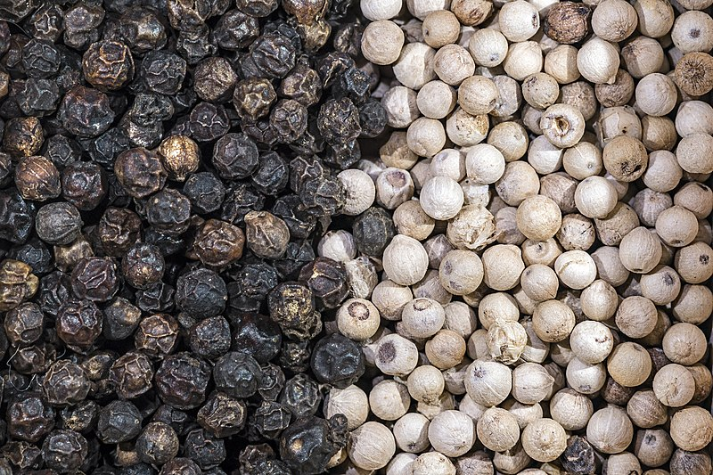 Datei:Piper nigrum Dried fruits with and without pericarp - Penja Cameroun.jpg