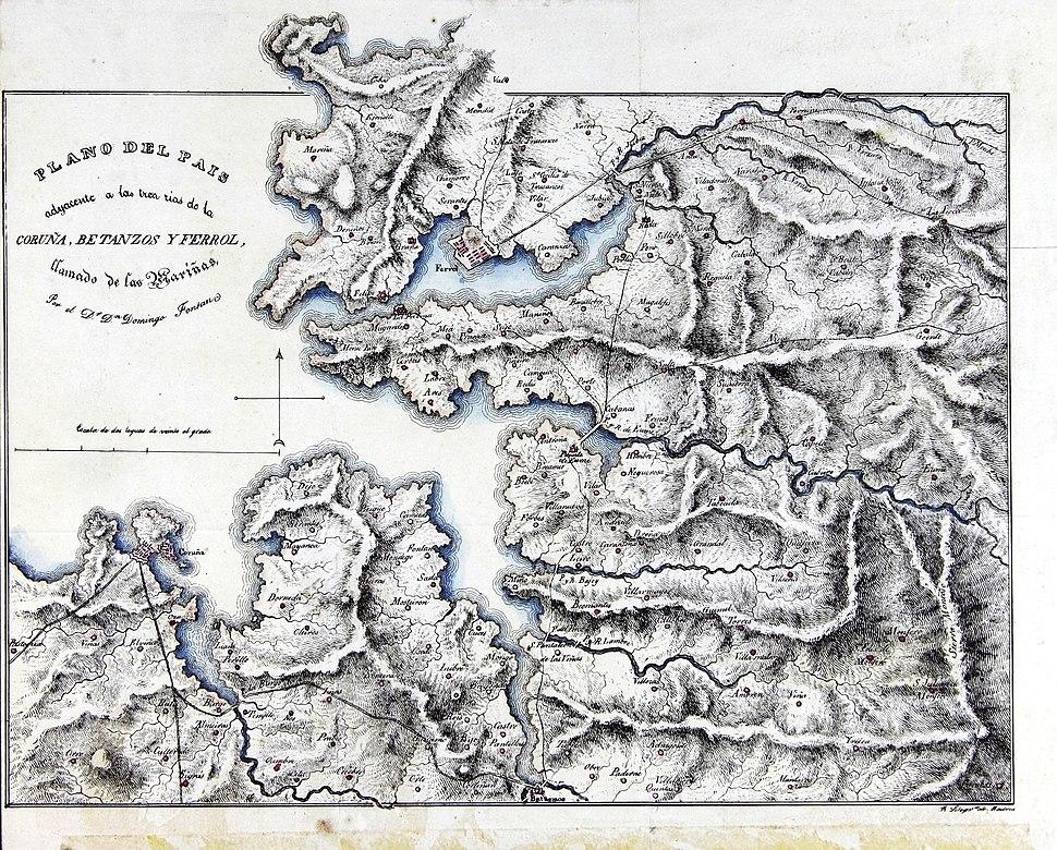 Plano del Pais adyacente a las tres rías de la Coruña, Betanzos y Ferrol, llamado de las Mariñas, por el D.r D.n Domingo Fontán