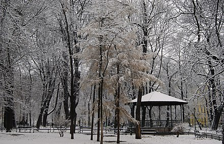 A pavilion within the Planty Park during winter Planty Garden, pavilion, Old Town, Krakow, Poland.JPG