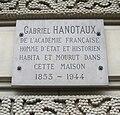 Plaque Gabriel Hanotaux, 4 avenue Hoche, Paris 8.jpg