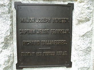 Jesse Franklin - Plaque honoring Franklin at Guilford Courthouse