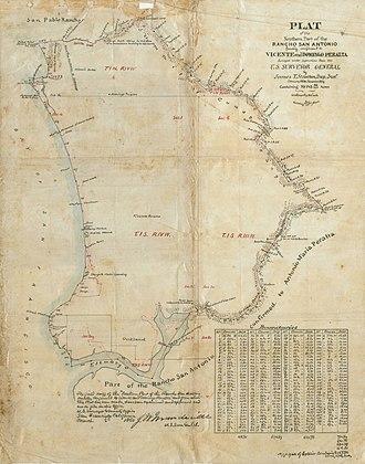 Rancho San Antonio (Peralta) - Map of the northern part of Rancho San Antonio, 1859