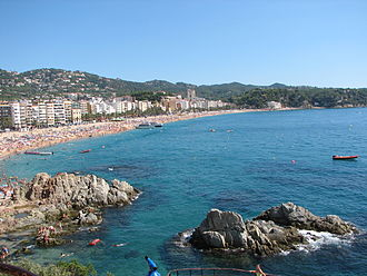Costa Brava - Bay of Lloret de Mar, most important summer resort of Costa Brava