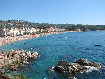 Bay of Lloret de Mar, most important summer resort of Costa Brava