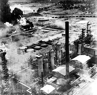 Ploiești - Columbia Aquila refinery burning after the raid of B-24 Liberator bombers, Operation Tidal Wave