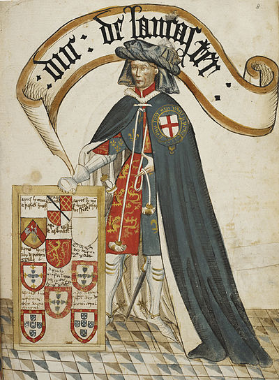 Henry of Grosmont, Earl of Lancaster (d.1361) (later Duke of Lancaster), the second appointee of the Order, shown wearing a tabard displaying the royal arms of England over which is his blue mantle or garter robe. Illuminated miniature from the Bruges Garter Book made c.1430 by William Bruges (1375-1450), first Garter King of Arms Portrait of Henry, Duke of Lancaster - William Bruges's Garter Book (c.1440-1450), f.8 - BL Stowe MS 594 (cropped).jpg