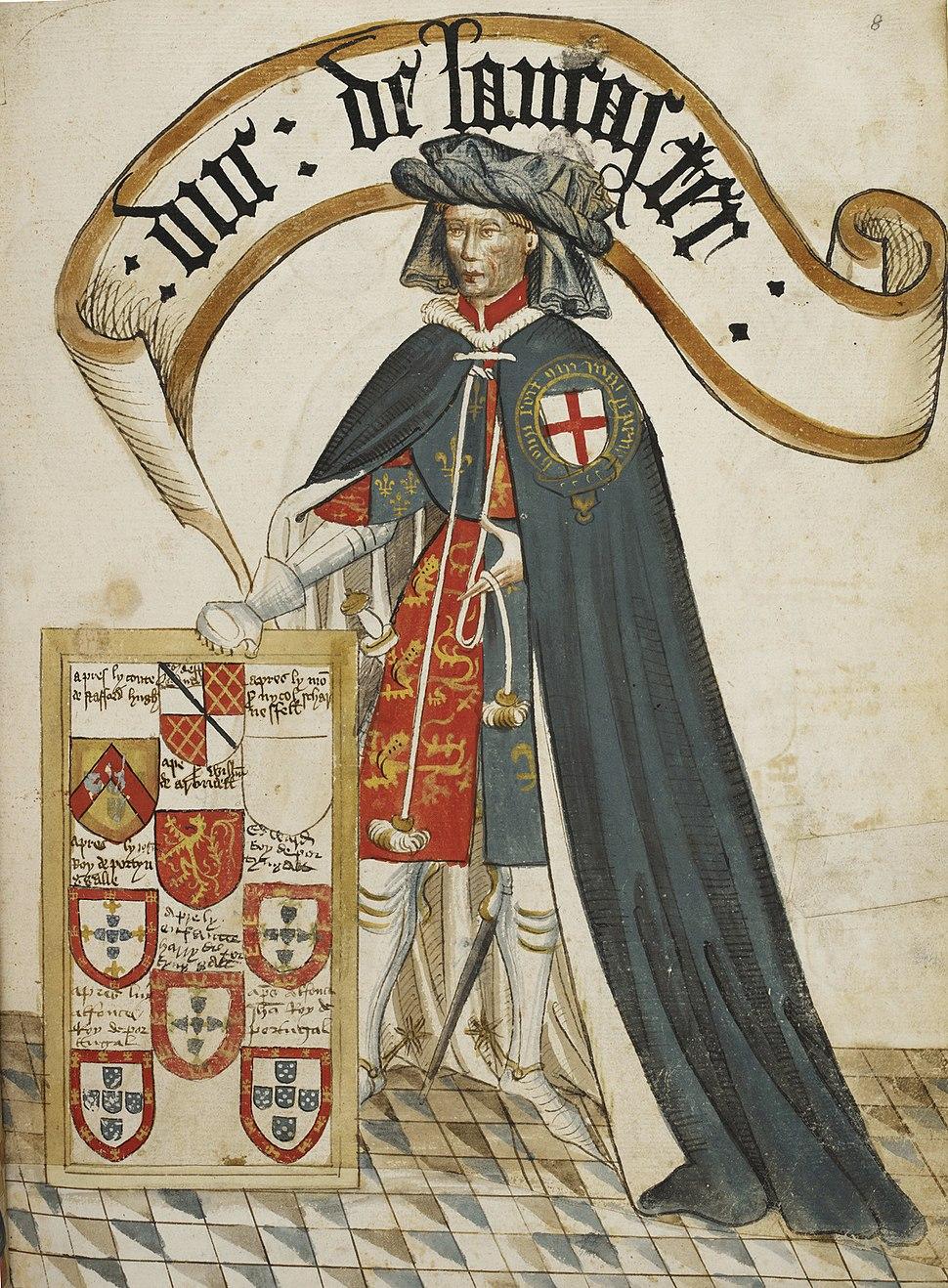 Portrait of Henry, Duke of Lancaster - William Bruges%27s Garter Book (c.1440-1450), f.8 - BL Stowe MS 594 (cropped)
