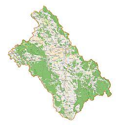 """Mapa konturowa powiatu kłodzkiego, po prawej znajduje się punkt z opisem """"Zakład przyrodoleczniczy """"Wojciech"""""""""""