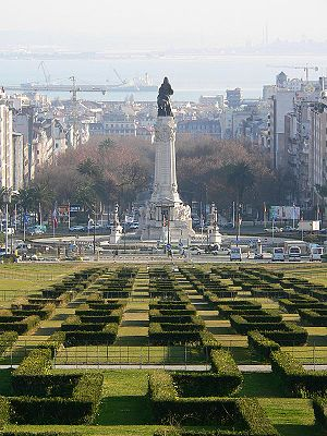 Marquis of Pombal Square - Marquess of Pombal Square seen from the Eduardo VII Park.
