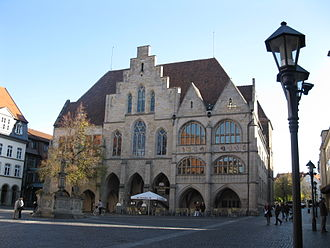 Hildesheim - Historic Market Place with City Hall and market fountain