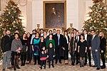 President Donald Trump and Melania Trump with Laura Bush and family members.jpg
