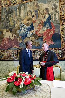 Il cardinale Parolin con il presidente degli Stati Uniti Barack Obama.
