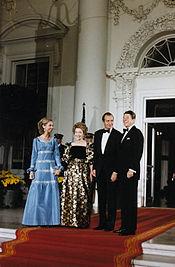 President Reagan and Mrs. Reagan greet King Juan Carlos I and Queen Sophia of Spain 1981