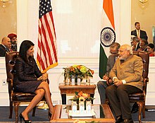 Prime Minister Modi meets South Carolina Governor Nikki Haley in New York: What an Excellent Authoritarian Model for Her., From WikimediaPhotos