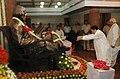 Priyaranjan Dasmunsi paying floral tributes at the statue of Gurudev Rabindranath Tagore on his birth anniversary at Parliament House in New Delhi on May 9, 2007.jpg