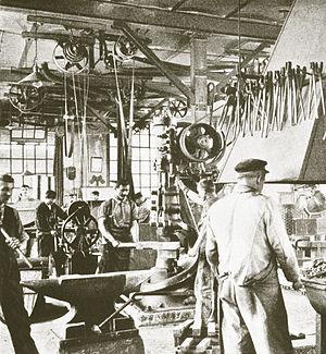 Machine industry - Interior of the Swiss machine factory, late 19th century