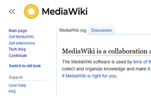 Proposed mediawiki logo (yellow solid, capitalised) new vector.png