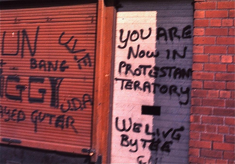 Protestant graffiti in Belfast, Northern Ireland, 1974