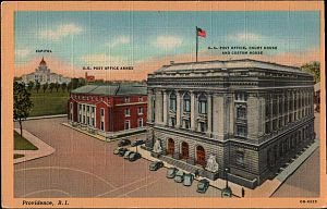 United States District Court for the District of Rhode Island - early 20th century postcard of Federal Building (Providence, Rhode Island)