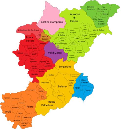 Cartina Politica Regione Veneto.Provincia Di Belluno Wikipedia