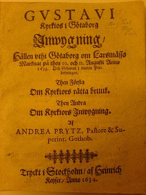Gothenburg Cathedral - Announcement of superintendent Prytz's sermon at the inauguration of the first church in 1633, published by Heinrich Keyser, 1634. From Library of Lund University.