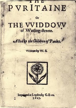 The Puritan - Title page of the 1607 quarto